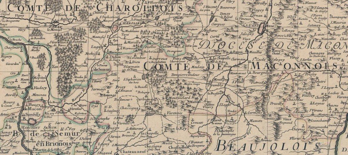 Partie méridionale du Duché de Bourgogne, Guillaume de l'Isle (1709)
