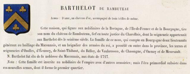 Armoiries des Barthelot de Rambuteau