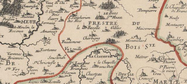Localisation de La Bazolle sur une carte du Sr Sanson d'Abbeville datée de 1659 (BnF/Gallica)