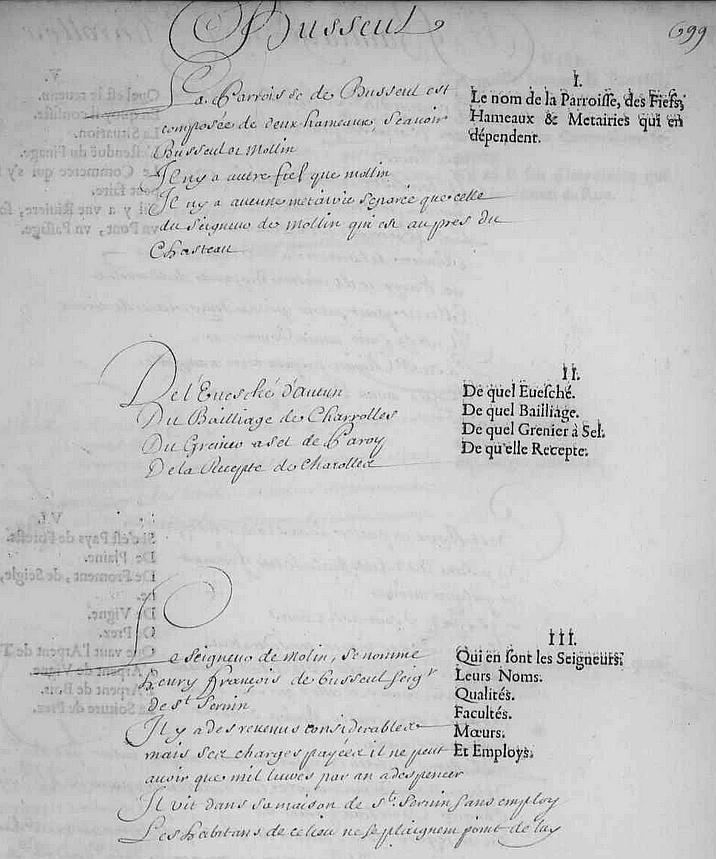 Paroisse de Busseul en 1666