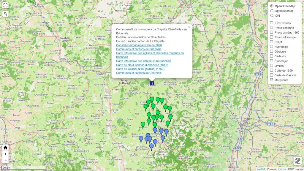 Carte de la Communauté de communes La Clayette Chauffailles en Brionnais