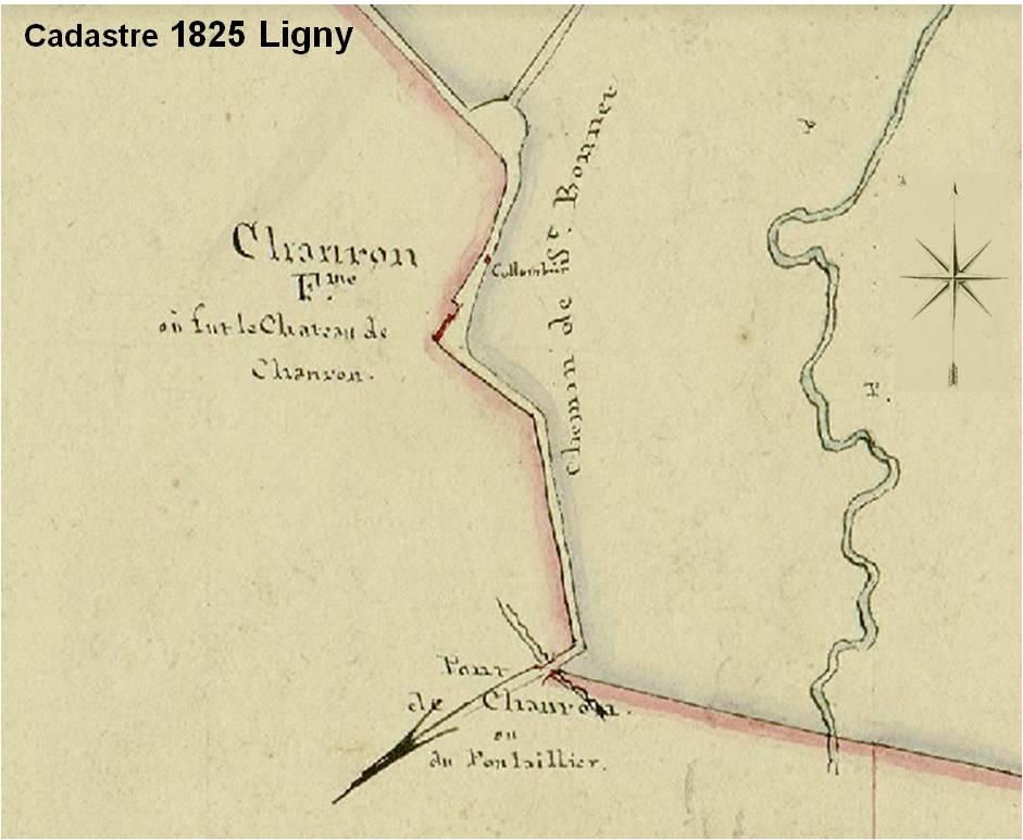 Emplacement du château de Chamron sur le cadastre de 1825 de Ligny