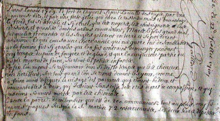 Colombier-en-Brionnais en 1709 / 1