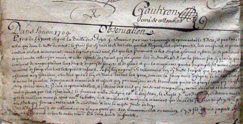 Colombier-en-Brionnais en 1709 / 2