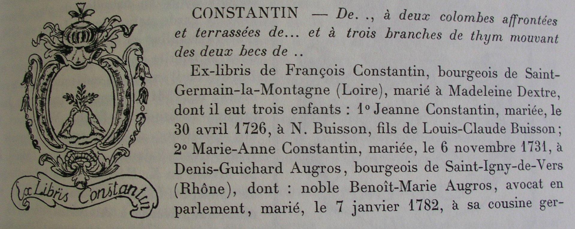 Ex-libris de François Constantin, bourgeois de St-Germain-la-Montagne