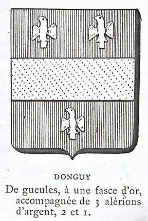 Donguy : de gueules, à une fasce d'or, accompagné de 3 alérions d'argent, 2 et 1