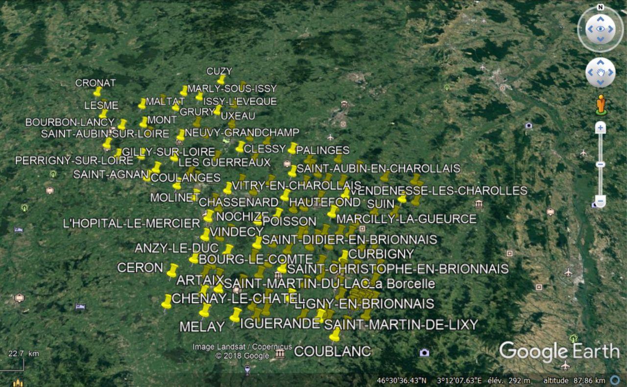 Google Earth et le Pays Charolais-Brionnais