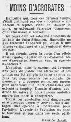 Mort d'Hanouille, L'Humanité 1914