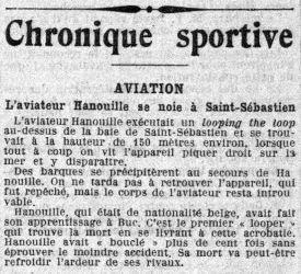 Chute d'Hanouille en 1914, jornal La Croix