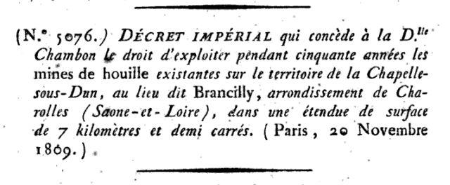 Mines de La Chapelle-sous-Dun en 1809