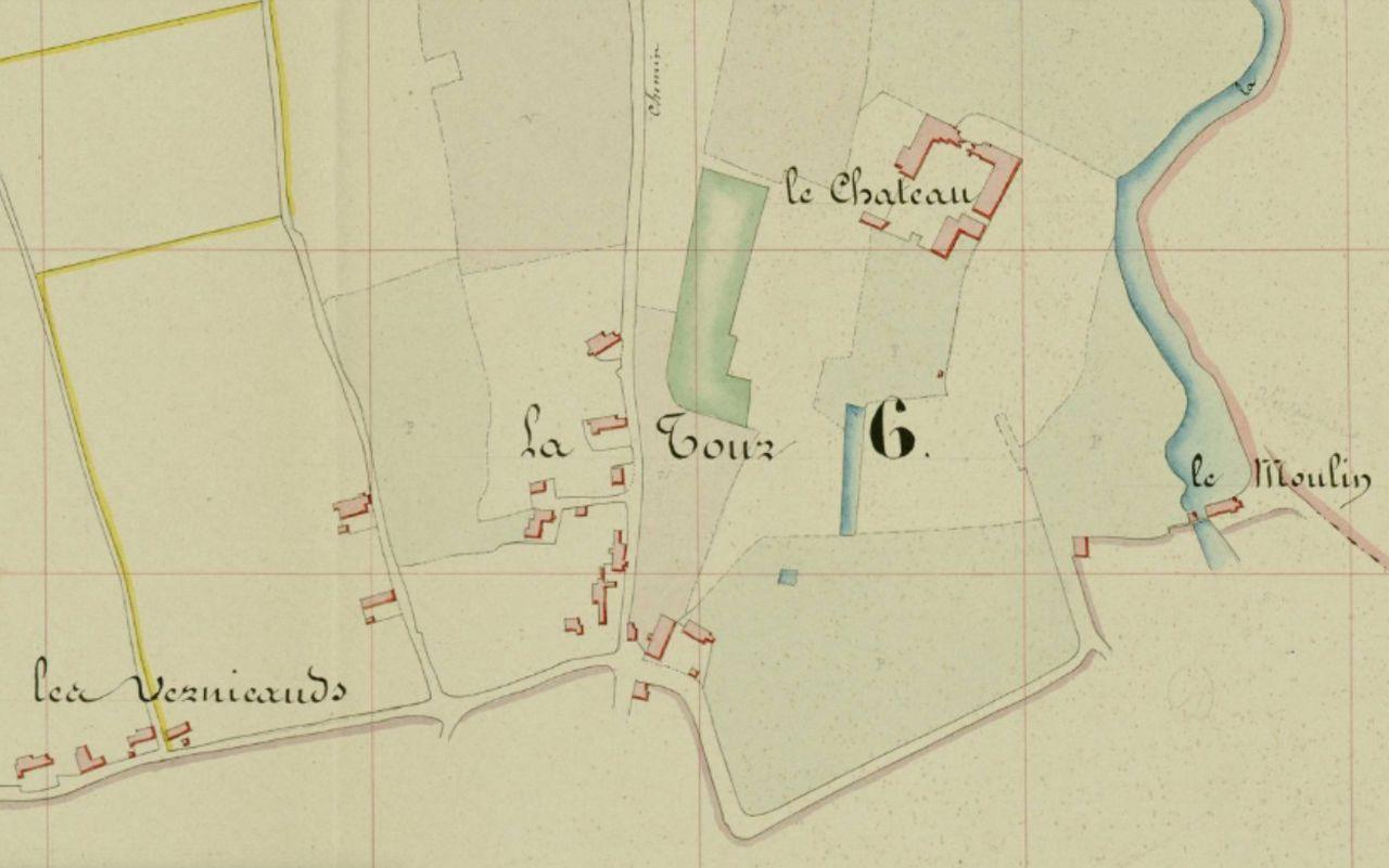 Le château de Montceaux-l'Étoile sur le cadastre napoléonien de 1839