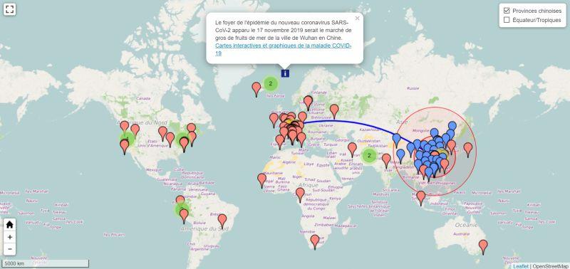 Carte interactive de la pandémie de coronavirus SARS-CoV-2 en 2019-2020 à partir de la ville de Wuhan en Chine