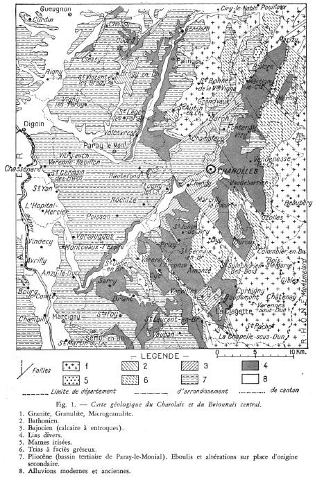 Carte géologique du Charolais-Brionnais