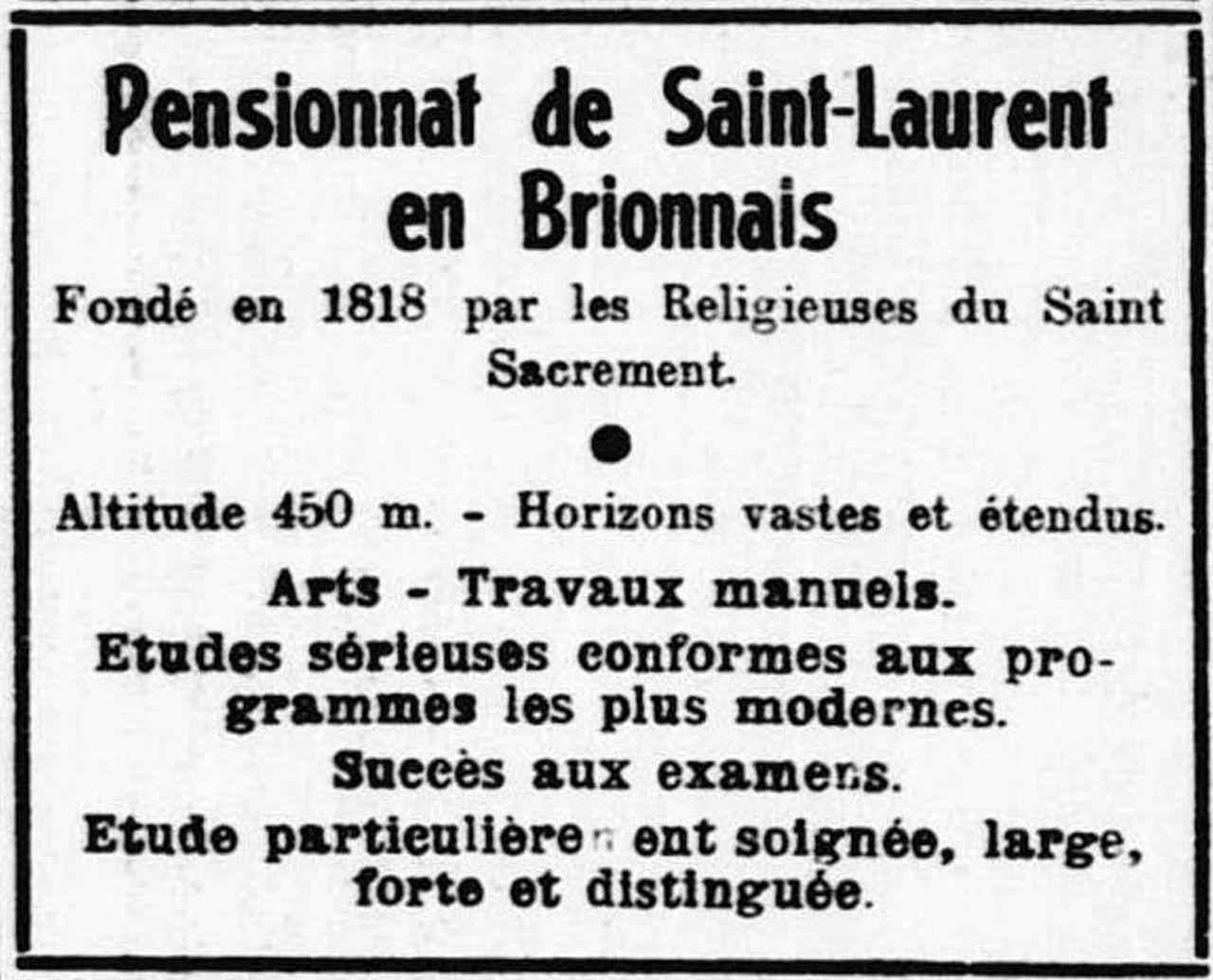 Pensionnat de St-Laurent-en-Brionnais, Le Nouvelliste d'Alsace, 1933