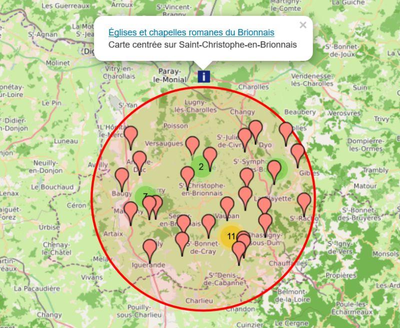 Carte interactive des églises romanes du Brionnais