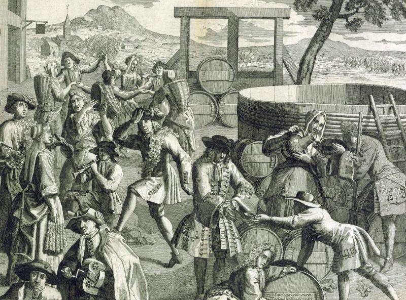 Fête des vendanges en 1700 (détail)