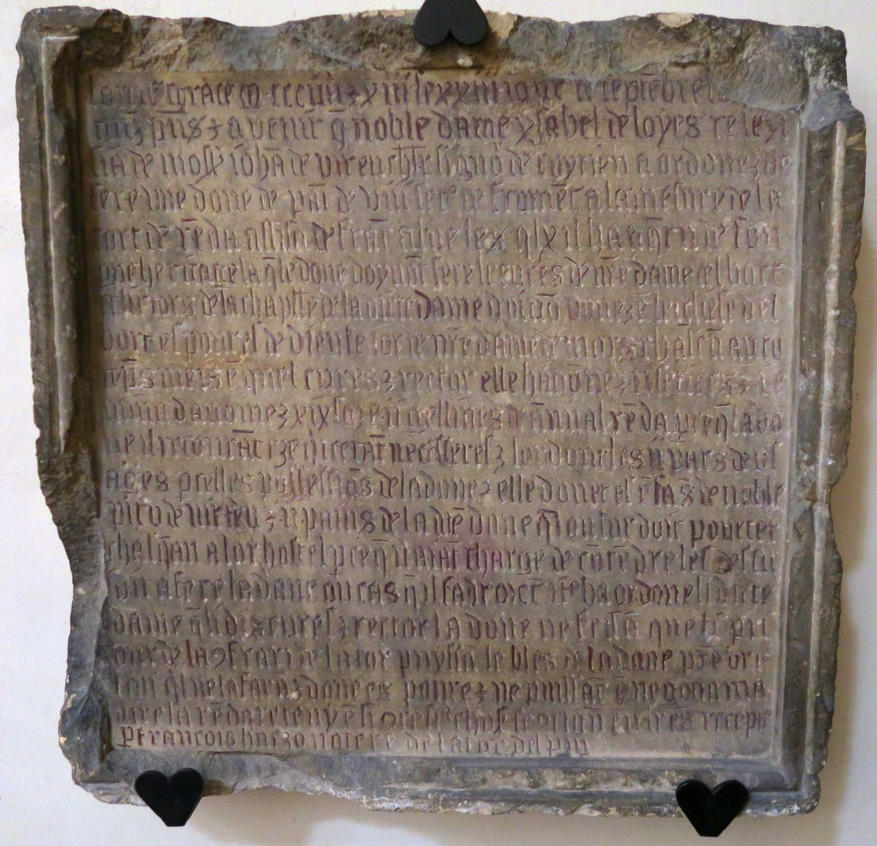 Inscription dans l'église de La Tour-du-Pin