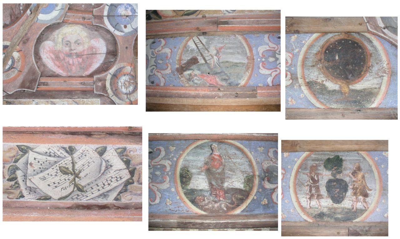 Médaillons du plafond de la chapelle de Sancenay à Oyé