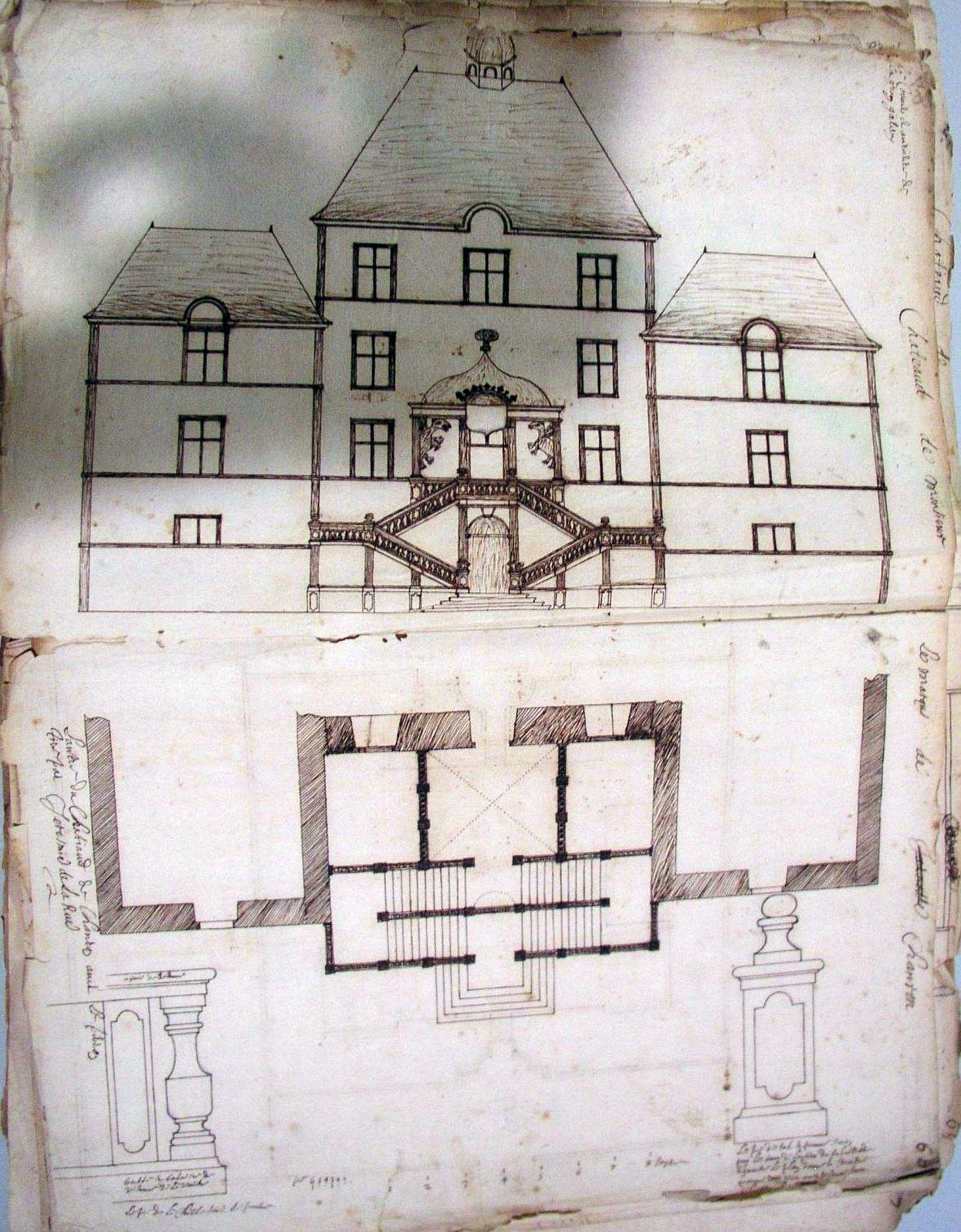 Plan du château de Chamron en 1670 par Jérémie de la Rue