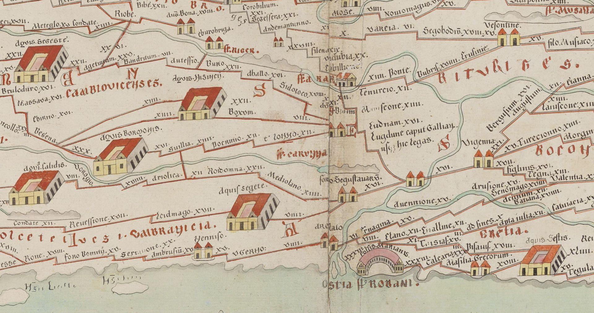 Voies romaines au départ de Lyon (table de Peutinger)