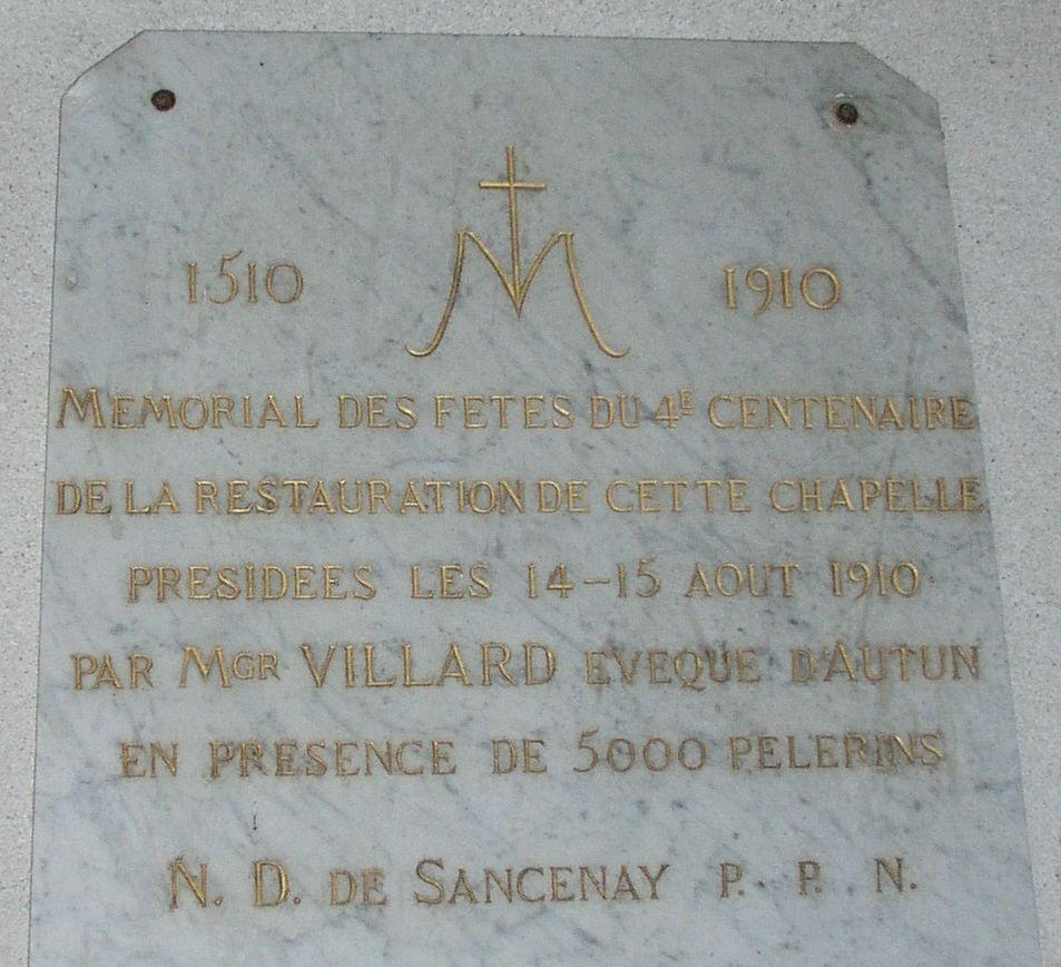 Commémoration du 4ème centenaire de la restauration de la chapelle de Sancenay à Oyé en 1910