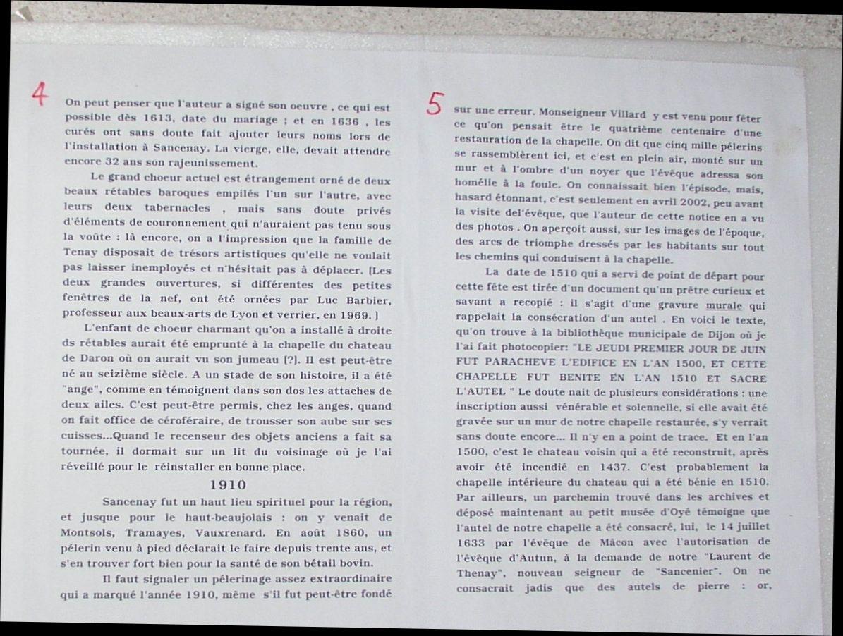 Histoire de la chapelle de Sancenay à Oyé - 2